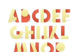Retro font in red and yellow