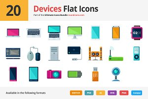 20 Devices Flat Icons