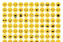 Great set 99 yellow emotion isolated