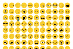Great set 99 yellow emotion isolated