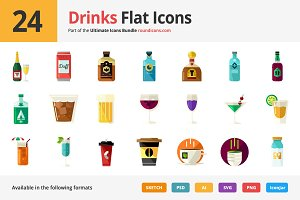 24 Drinks Flat Icons