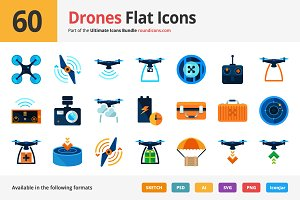 60 Drones Flat Icons