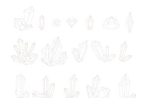 Set 17 isolated fashion crystals