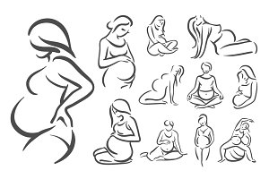 Pregnant women illustration