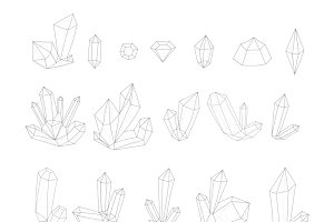Set 17 isolated fashion crystal