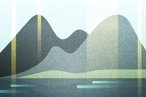 Abstract retro landscape grunge