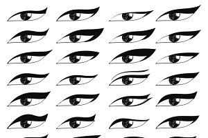Set of eyes in sketch style