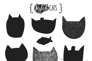 Doodle silhouettes of cats