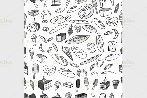 Seamless pattern of ice-cream