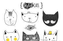 Set of cute doodle cats