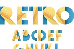 Retro font in blue and yellow