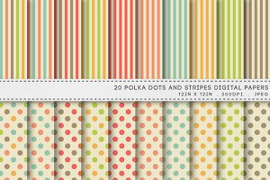 Polka Dots And Stripes Digital Paper