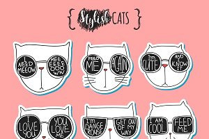 Set of cute doodle cats in glasses