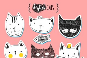 Set of cute doodle cats stickers