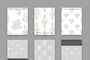 Set 6 templates for printing crystal