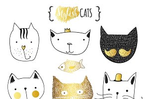 Set of cute doodle cats in gold