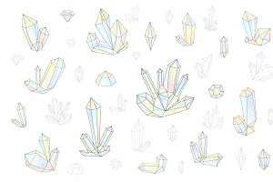 Set 18 isolated fashion crystals