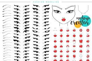 Makeup creator. Set facial features