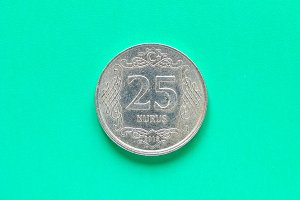 Turkish coin on green background
