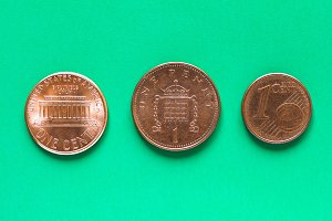 Dollars, Euro and Pounds - 1 Cent, 1 Penny