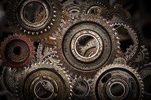 Cog wheels mechanism background.