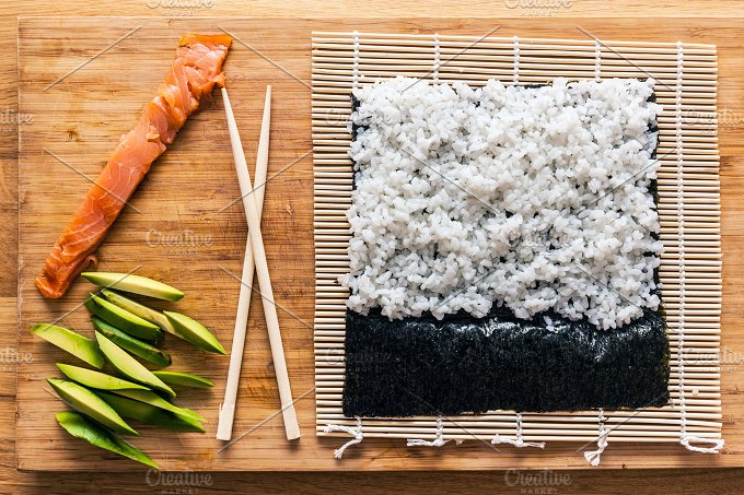 Preparing sushi. View from the top. - Food & Drink