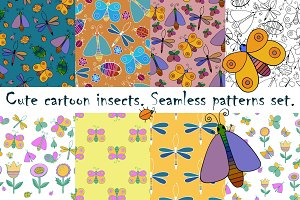 Cartoon insects. Patterns set.