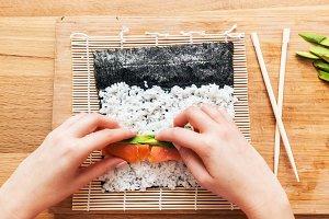Preparing sushi.