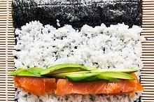 Preparing sushi background.