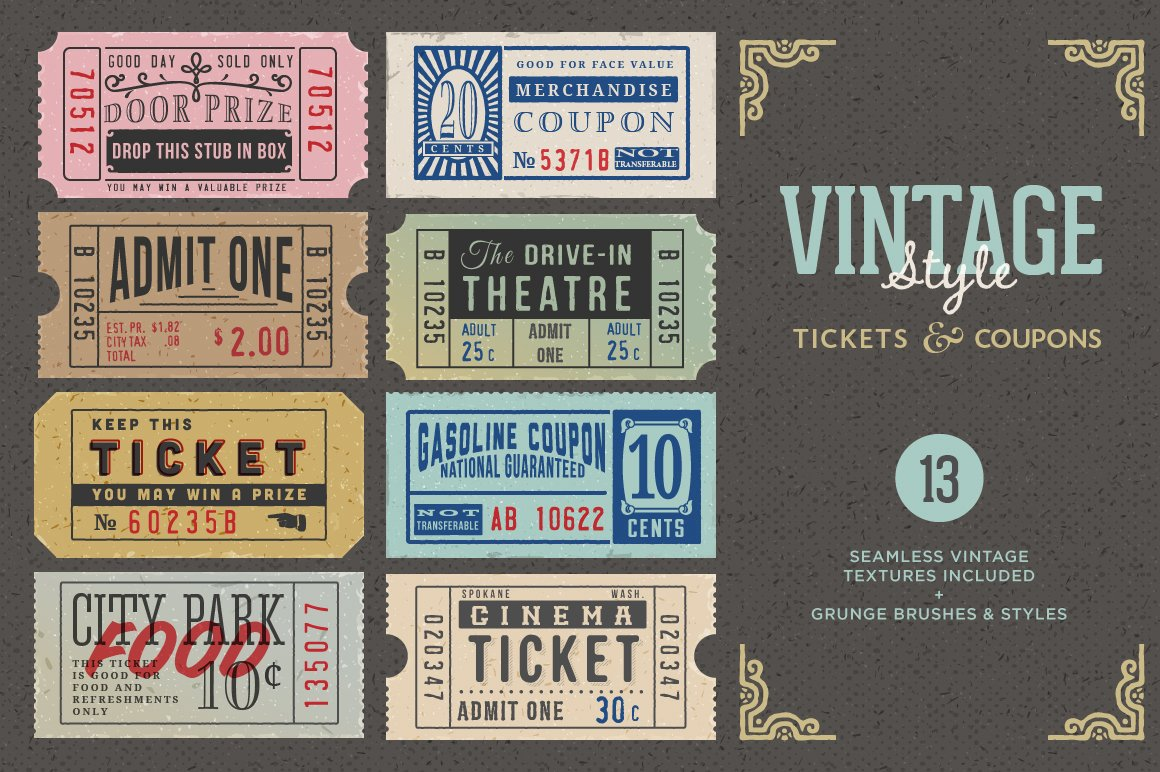 vintage tickets coupons bundle graphics creative market