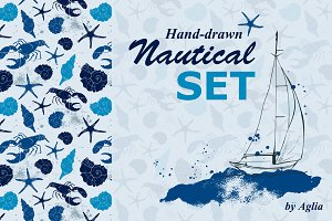 Hand drawn nautical set