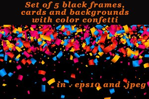 Black background with color confetti