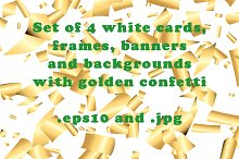 White backgrounds with gold confetti