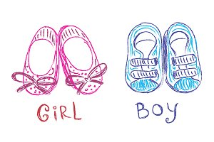 baby shoes, sketch, doodle