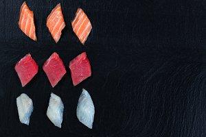 Variety of Sushi on Slate Stone