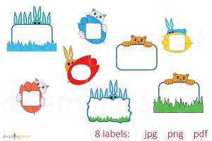 Curious Pet Labels Clip Art