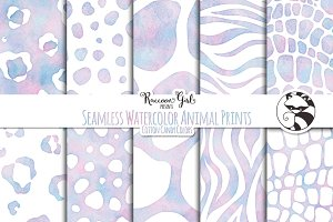 Seamless Watercolor Animal Prints cc
