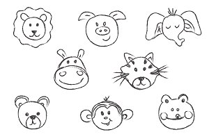 animals, faces, vector