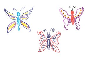 Set of butterflies, sketch