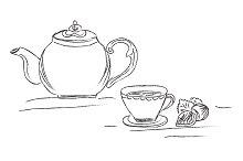 tea pot and cup, sketch, vector