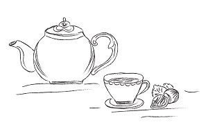 tea pot and cup, sketch, vector