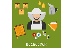 Beekeeper profession flat icons
