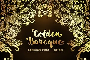 14 Golden Baroque patterns & frames