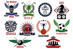 Sport games icons and symbols