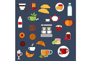 Breakfast food and drinks icons