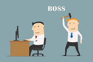 Executive boss with hammer