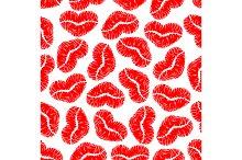 Red lips prints seamless pattern