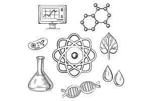 Biology and chemistry sketch icons