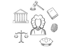 Law and justice sketch icons
