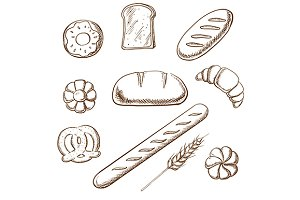 Bakery and pastry object sketches